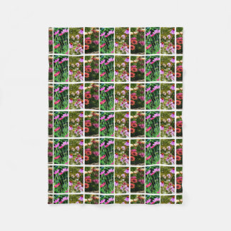 Pink and Green Daisy Collage Fleece Blanket