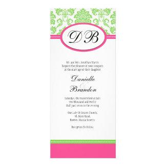 Pink and Green Damask Monogram Wedding Invitation