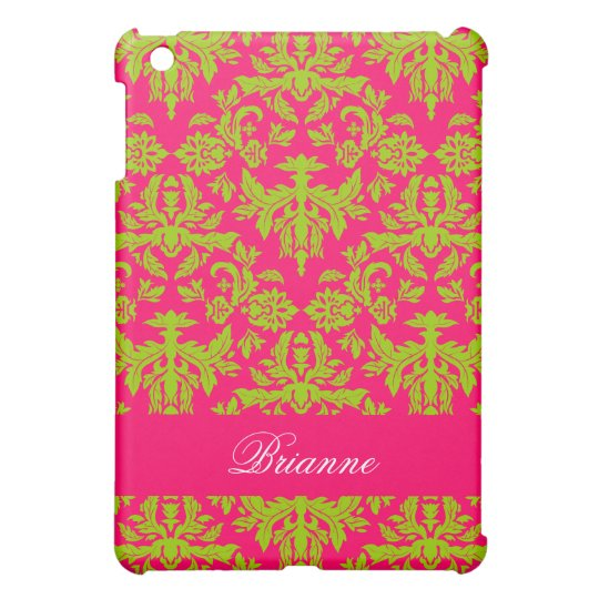Pink and Green Damask Pattern Personalized Name iPad Mini Cover
