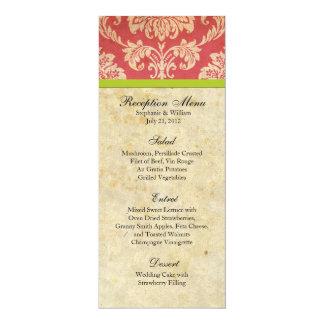 "Pink and Green Damask Reception Menu 4"" X 9.25"" Invitation Card"