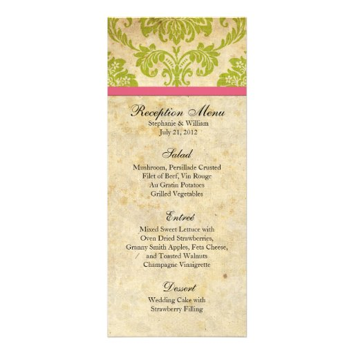 Pink and Green Damask Reception Menu Personalized Announcement