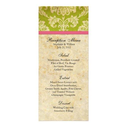 Pink and Green Damask Reception Menu Custom Invitation
