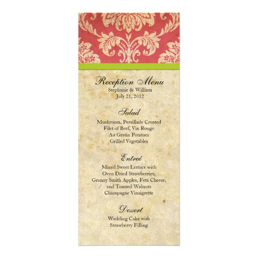 Pink and Green Damask Reception Menu Custom Announcements