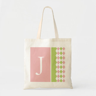 Pink and Green Diamond Monogram Bag