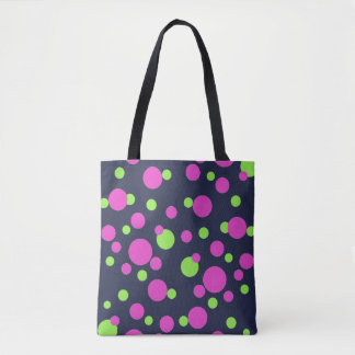 Pink and Green Dots on Midnight Blue - Tote Bag