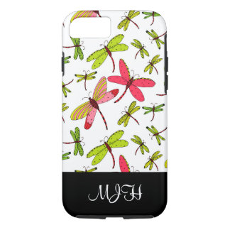 Pink and Green Dragonflies Monogram Initials iPhone 8/7 Case