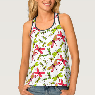 Pink and Green Dragonflies Tank Top