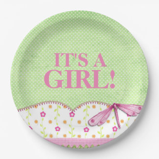 Pink and Green Dragonfly Baby Shower Paper Plate