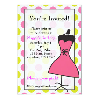 Pink and Green Dress Form Mannequin Invitations
