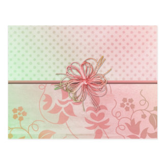 Pink and Green Floral and Dot Card Postcard