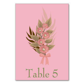 Pink and green Floral Card