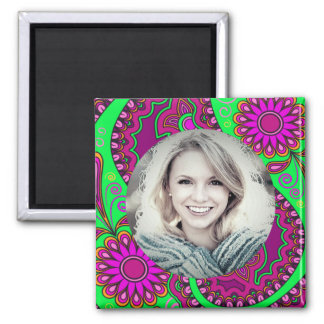 Pink and Green Floral/Custom Photo Square Magnet