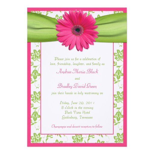 Pink and Green Floral Damask Wedding Invitation