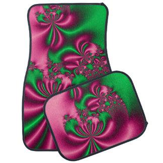 Pink and Green Floral Flow Car Mat
