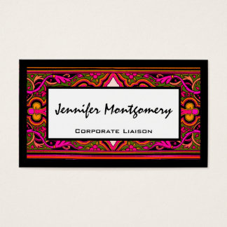 Pink and Green Floral Professional Business Card