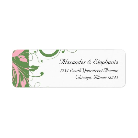 Pink and Green Floral Swirl Wedding