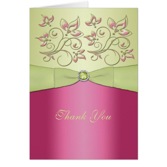 Pink and Green Floral Thank You Card