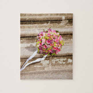 Pink and Green Floral Wedding Bouquet Jigsaw Puzzle
