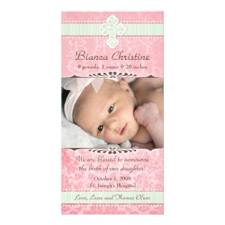 Pink and Green Florals Birth Announcement Picture Card