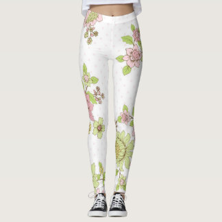 Pink and Green Flower Leggings for Yoga