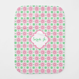Pink and Green Flowers Personalized Burp Cloths