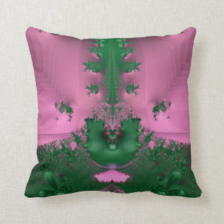 Pink and Green Fractal Pillow