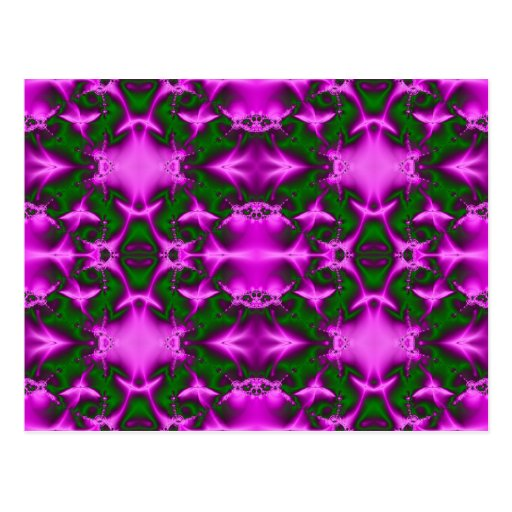 pink and green fractal post cards