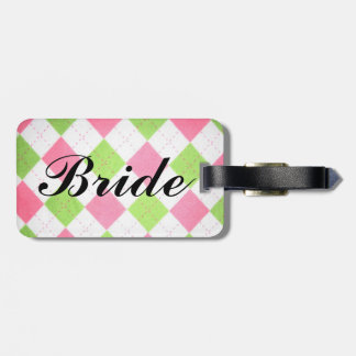 """pink and green gingham """"Bride"""" luggage tag"""