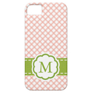 Pink and Green Gingham Monogrammed Case For The iPhone 5