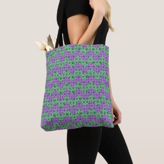 Pink And Green Glitter Chevron Pattern Tote Bag