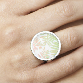 Pink and Green Gradient Palm Tree Leaves Rings