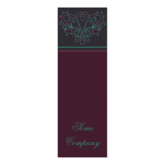 Pink And Green Heart Damask Business Card