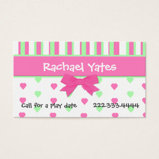 Pink and Green Hearts and Stripes Play Date Card