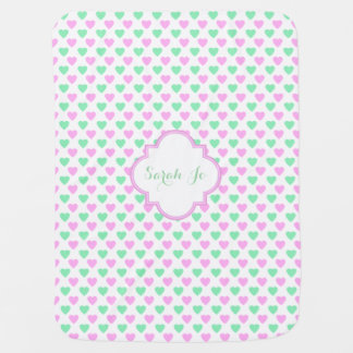 Pink and Green Hearts Pattern Personalized Baby Blanket