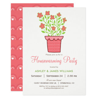 Pink and Green Housewarming Party Invitation