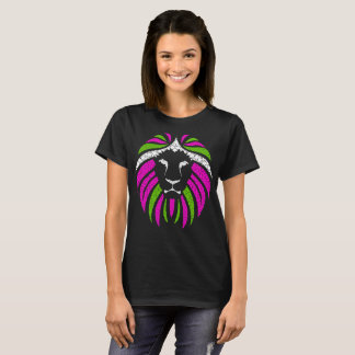 Pink and Green Lion T-shirt (Black Shirt)