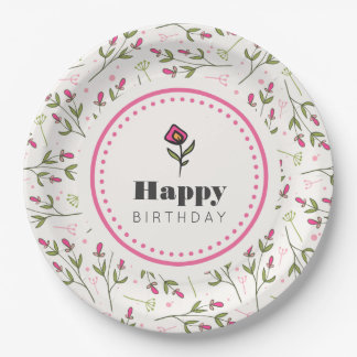 Pink and Green Long Stem Wildflowers Birthday Paper Plate