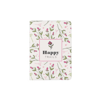 Pink and Green Long Stem Wildflowers Happy Trails Passport Holder