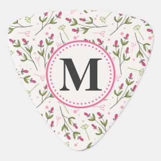 Pink and Green Long Stem Wildflowers Monogram Guitar Pick