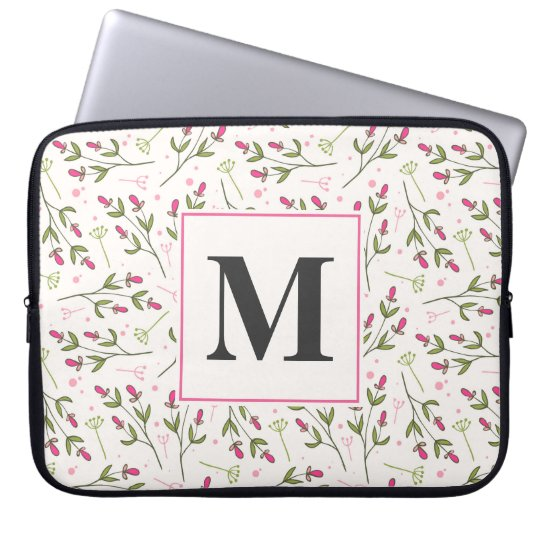 Pink and Green Long Stem Wildflowers Monogram Laptop Sleeve