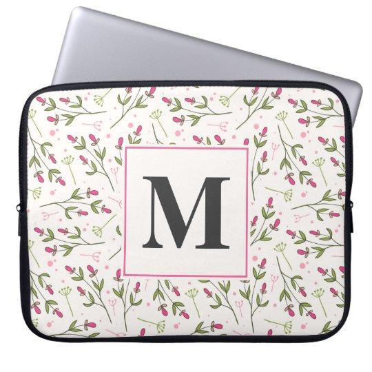 Pink and Green Long Stem Wildflowers Monogram Laptop Sleeves