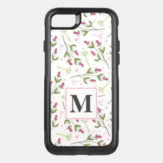 Pink and Green Long Stem Wildflowers Monogram OtterBox Commuter iPhone 7 Case