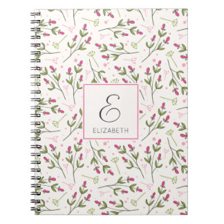 Pink and Green Long Stem Wildflowers Monogram Spiral Notebook