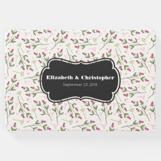 Pink and Green Long Stem Wildflowers Pattern Guest Book