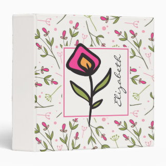 Pink and Green Long Stem Wildflowers Personalized Binders