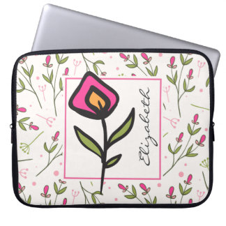 Pink and Green Long Stem Wildflowers Personalized Laptop Sleeve