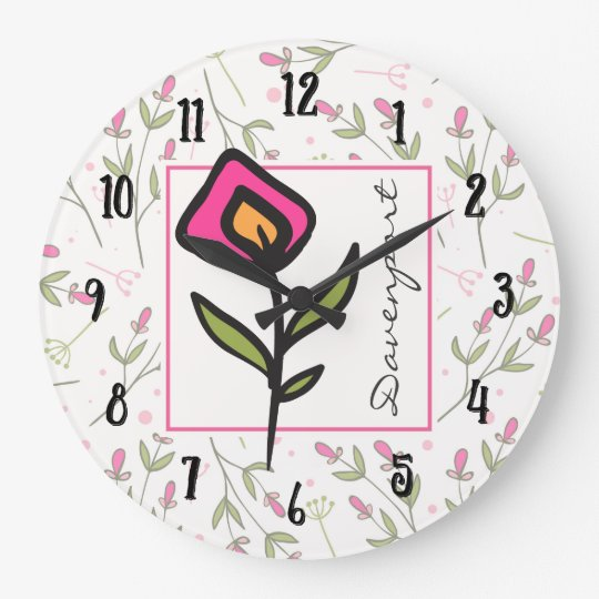 Pink and Green Long Stem Wildflowers Personalized Large Clock