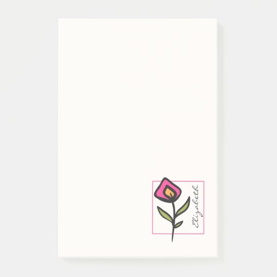 Pink and Green Long Stem Wildflowers Personalized Post-it Notes