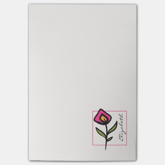 Pink and Green Long Stem Wildflowers Personalized Post-it® Notes