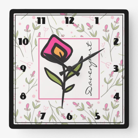 Pink and Green Long Stem Wildflowers Personalized Square Wall Clock
